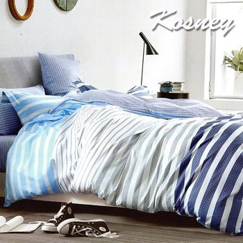 【KOSNEY】漫步者  頂級加大精梳棉全花版六件式床罩組台灣製