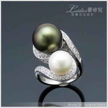 【蕾帝兒珠寶】極緻品味黑白雙色貝殼珍珠戒指