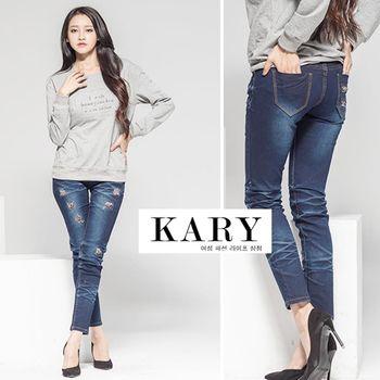 【KARY】韓版個性時尚性感提臀豹紋拼布牛仔長褲