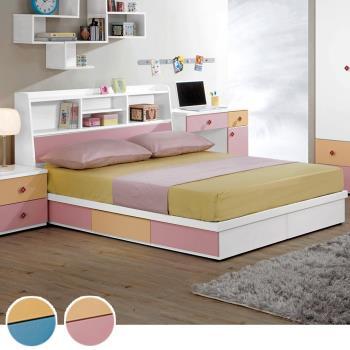 Bernice-莫妮5尺書架抽屜型雙人床架(兩色可選)