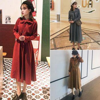 。DearBaby。韓版文青質感復古式領結收腰純色洋裝-共三色(預購)