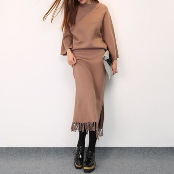 。DearBaby。韓版甜美氣質純色顯瘦二件式流蘇裙套裝-共二色(預購)