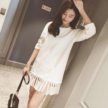 。DearBaby。韓版女神款甜美氣質壓紋造型裙襬連身洋裝-白色(預購)
