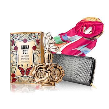 【Anna Sui安娜蘇】波希女神性感香氛限量3件組(淡香水30ml+長夾+披肩)