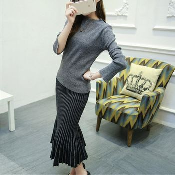 。DearBaby。韓版氣質女神二件式顯瘦百褶魚尾裙套裝組-共二色(預購)