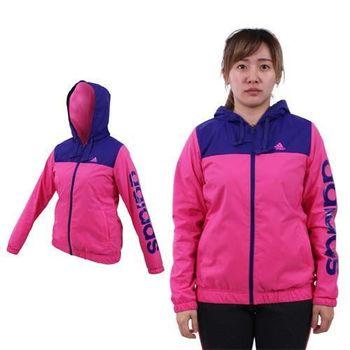【ADIDAS】女連帽風衣外套-保暖 刷毛 防風 愛迪達 桃紅紫