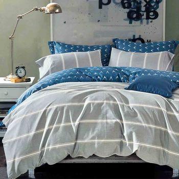 【Betrise】索菲心語-環保印染德國防蹣抗菌精梳棉四件式兩用被床包組-加大