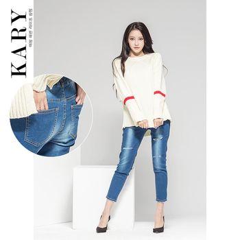 【KARY】韓版韓版窄款修長顯瘦褲頭鬆緊率性刷破刷白牛仔長褲