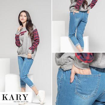 【KARY】韓版休閒率性補丁風白色綁帶褲頭鬆緊牛仔長褲