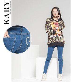 【KARY】韓版修身剪裁後口袋可愛老鼠圖案褲頭鬆緊牛仔長褲