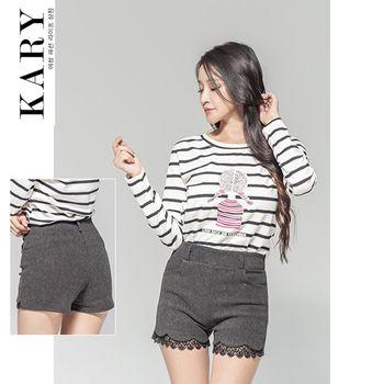 【KARY】韓版獨特精心設計性感甜美蕾絲毛料短褲