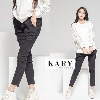 【KARY】韓版黑色扣子黑色綁帶鬆緊褲