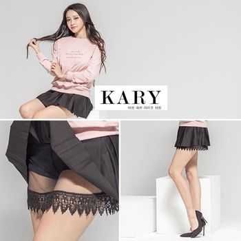 【KARY】韓版名媛風性感蕾絲內襯百摺短裙