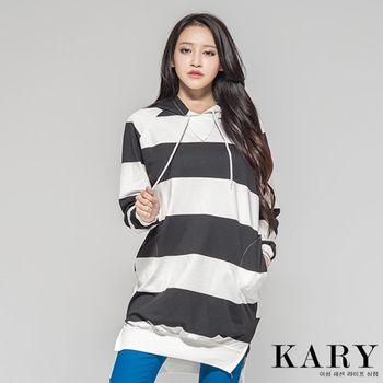 【KARY】韓版正韓-學院風領口V條紋長版長袖帽T