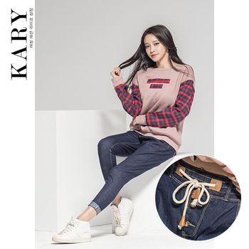 【KARY】韓版輕鬆率性風格鬆緊褲頭綁帶牛仔休閒長褲