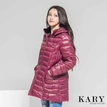 【KARY】韓版修身設計長版收腰連帽羽絨外套
