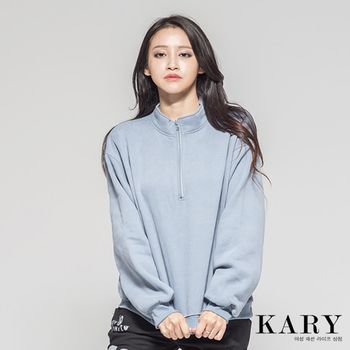 【KARY】韓版獨特素色休閒領口拉鍊後數字5長袖上衣