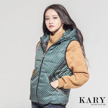 【KARY】韓版時尚有型輕柔好感點點羽絨背心