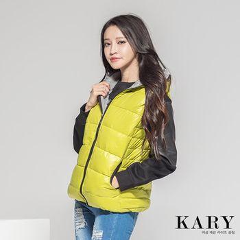 【KARY】韓版百搭螢光飽和色內裡格紋連帽羽絨背心