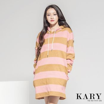 【KARY】韓版質感輕柔刷毛條紋長版長袖帽T