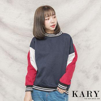 【KARY】韓版韓版設計款刷毛拼色長袖上衣