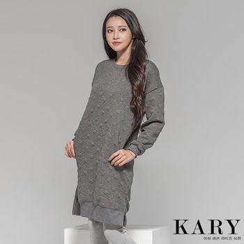 【KARY】韓版獨特浮水印側邊小開衩長版連身裙