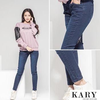 【KARY】韓版顯瘦款深色鬆緊褲頭刷白牛仔長褲