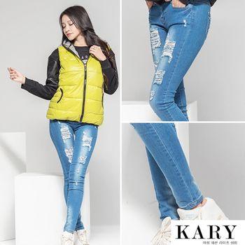 【KARY】韓版潮流率性提臀刷白刷破牛仔長褲