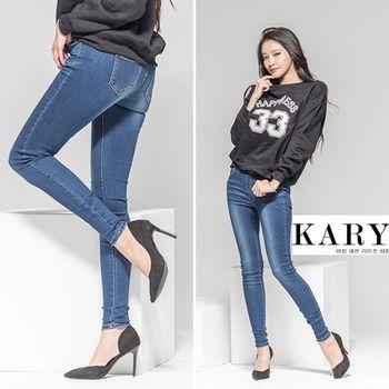 【KARY】韓版微體雕效果鬆緊褲頭刷白牛仔長褲