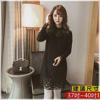 WOMA-X733韓版寬鬆中長寬洋裝(黑)WOMA中大尺碼洋裝X733