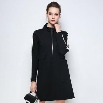 【KVOLL中大尺碼】立體條紋配色寬鬆休閒連身裙(共二色)