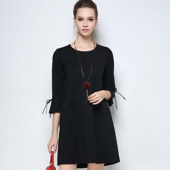 【KVOLL中大尺碼】寬鬆七分袖顯瘦A字連身裙(共二色)