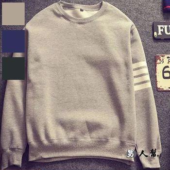 【男人幫】T5824*太陽的後裔宋仲基同款衣服套頭韓版圓領長袖T恤四條紋