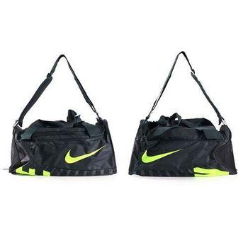 【NIKE】行李袋-側背包 單肩後背包 旅行袋 黑螢光綠