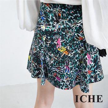 【ICHE 衣哲】豹紋蜻蜓印花造型短裙