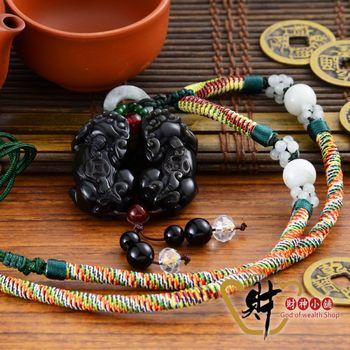 【財神小舖】黑曜石雙貔貅項鍊(五色線綠)《含開光》廣結人緣、改善人際