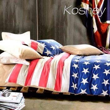 【KOSNEY】 歐美派對 精梳棉單人床包雙人被套組MIT台灣製造