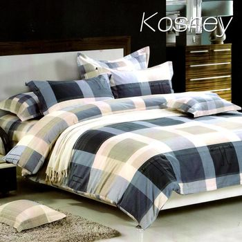 【KOSNEY】 易家格-藍 精梳棉單人床包雙人被套組MIT台灣製造