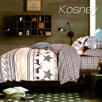 【KOSNEY】 艾維斯 單人精梳棉三件式床包被套組MIT台灣製造