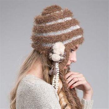 【米蘭精品】毛帽針織羊毛帽韓版保暖毛球辮子女帽子2色73id22