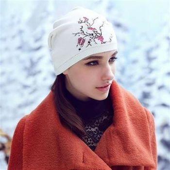 【米蘭精品】毛帽針織羊毛帽韓版加厚花朵圖案女帽子73id37