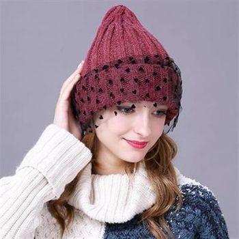【米蘭精品】毛帽針織羊毛帽歐美時尚點點網紗女帽子6色73id40