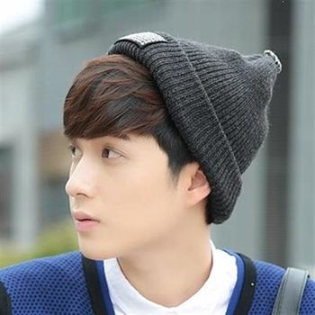 【米蘭精品】毛帽針織羊毛帽簡約個性純色翻摺男女帽子5色73id45