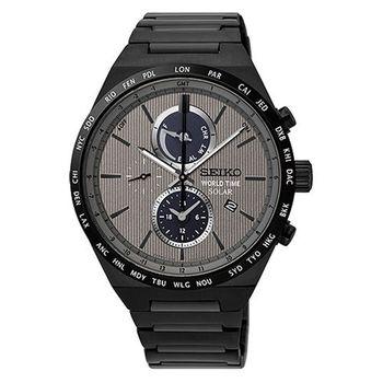 SEIKO 精工 SOLAR 灰色地帶太陽能世界時間腕錶/41mm/V195-0AE0N(SSC527J1)