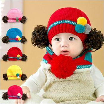 韓國人氣秋冬假髮帽保暖毛線帽+脖圍兩件套組