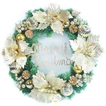 20吋大浪漫歐系聖誕花裝飾綠色聖誕花圈(宮廷雙金系)(台灣手工組裝出貨)