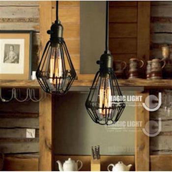 【光的魔法師】Loft 美式鄉村工業風鐵藝複古小鐵籠吊燈