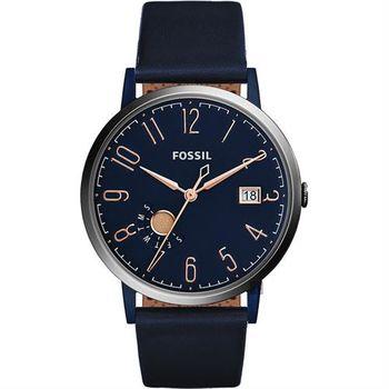 FOSSIL Vintage 美式復刻風尚腕錶-深藍/39mm ES4107