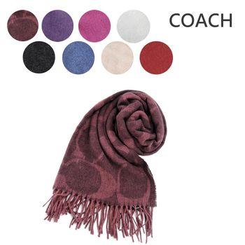 COACH 經典LOGO流蘇羊毛混絲圍巾(8色選)
