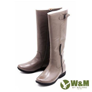 W&M 秋冬簡約率性長筒靴高筒靴 女鞋-灰(另有黑)